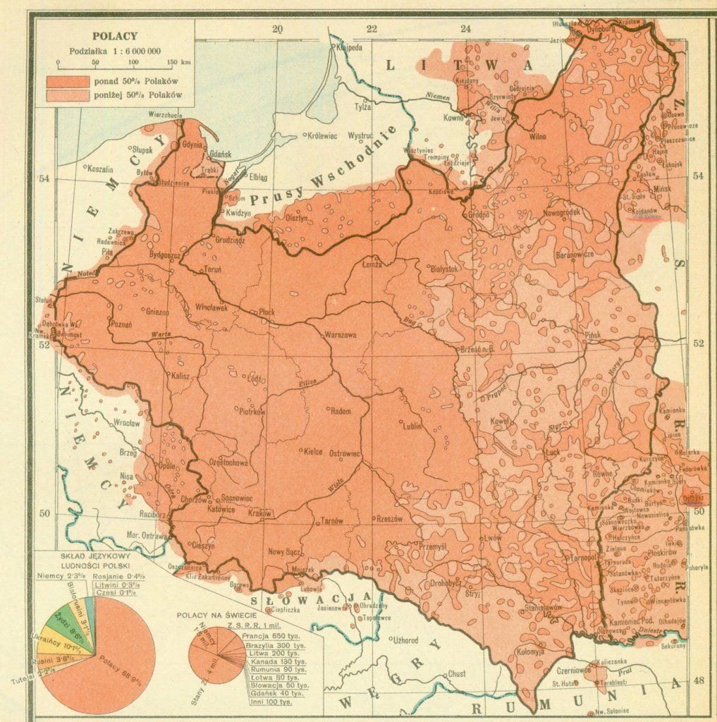 Карта расселения поляков, 1939 год