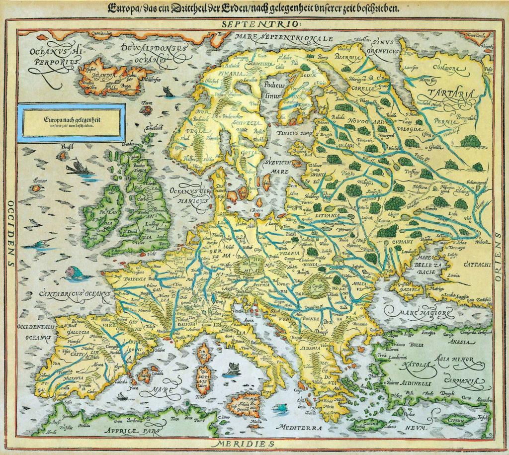 Карта Европы, 1595 г.