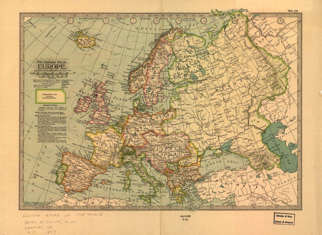 Политическая карта Европы, 1897 г.