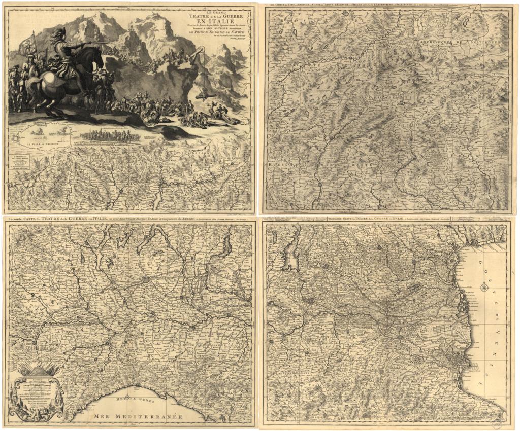 Карта театра военных действий в Италии, 1705 г.