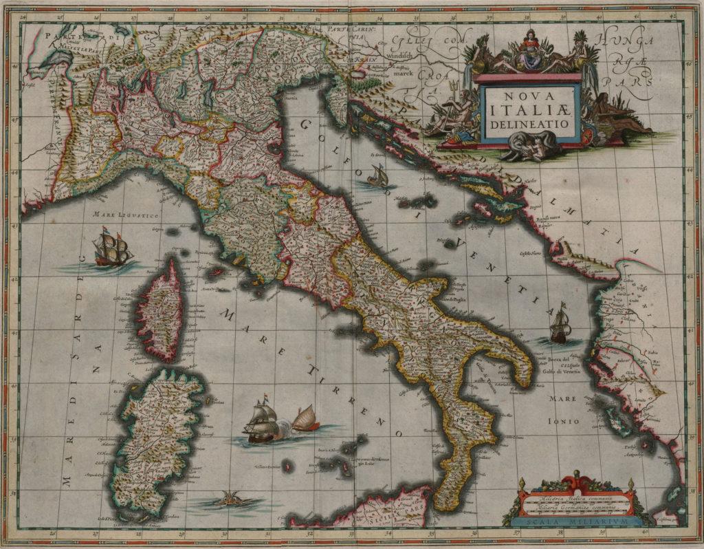 Карта Италии, 1658 г.