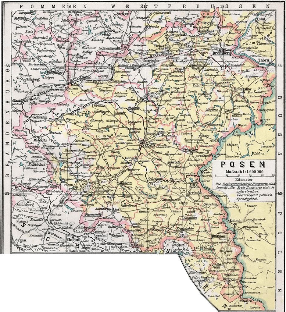 Карта прусской провинции Познань, 1905 г.