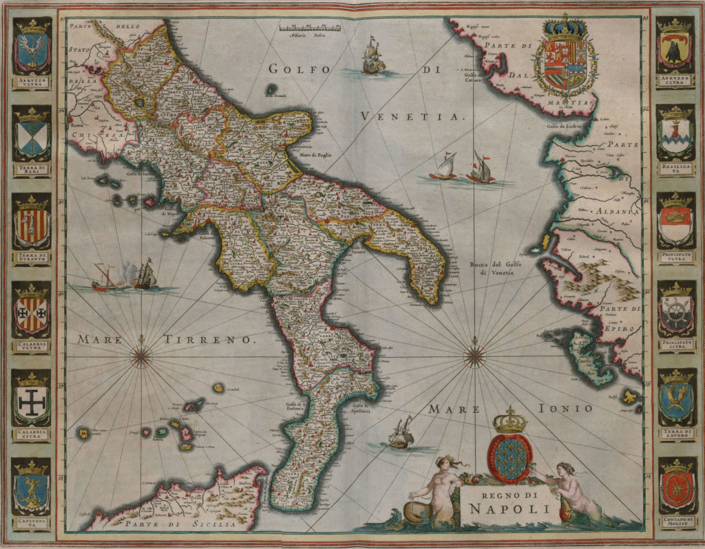 Карта южной части Италии, 1658 г.