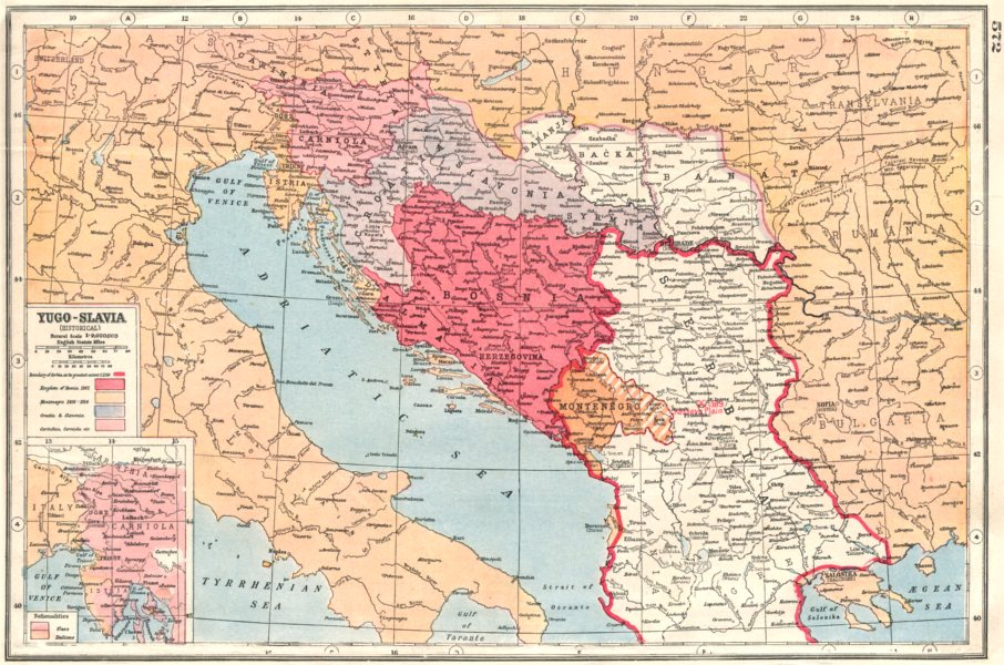 Карта Югославии, 1920 г.