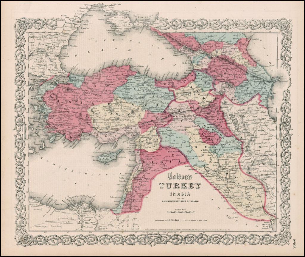 Региональная карта азиатских владений Османской империи и Кавказских провинций России, 1865 г.