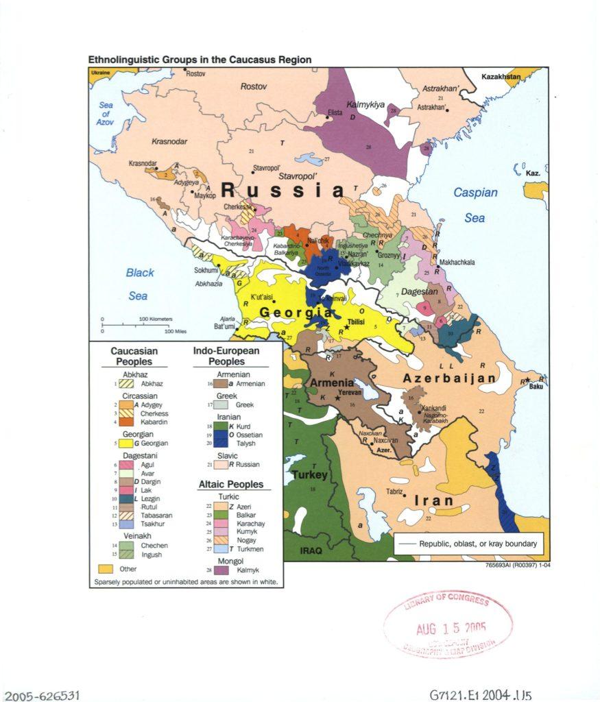 Этнолингвистическая карта Кавказа, 2004 г.