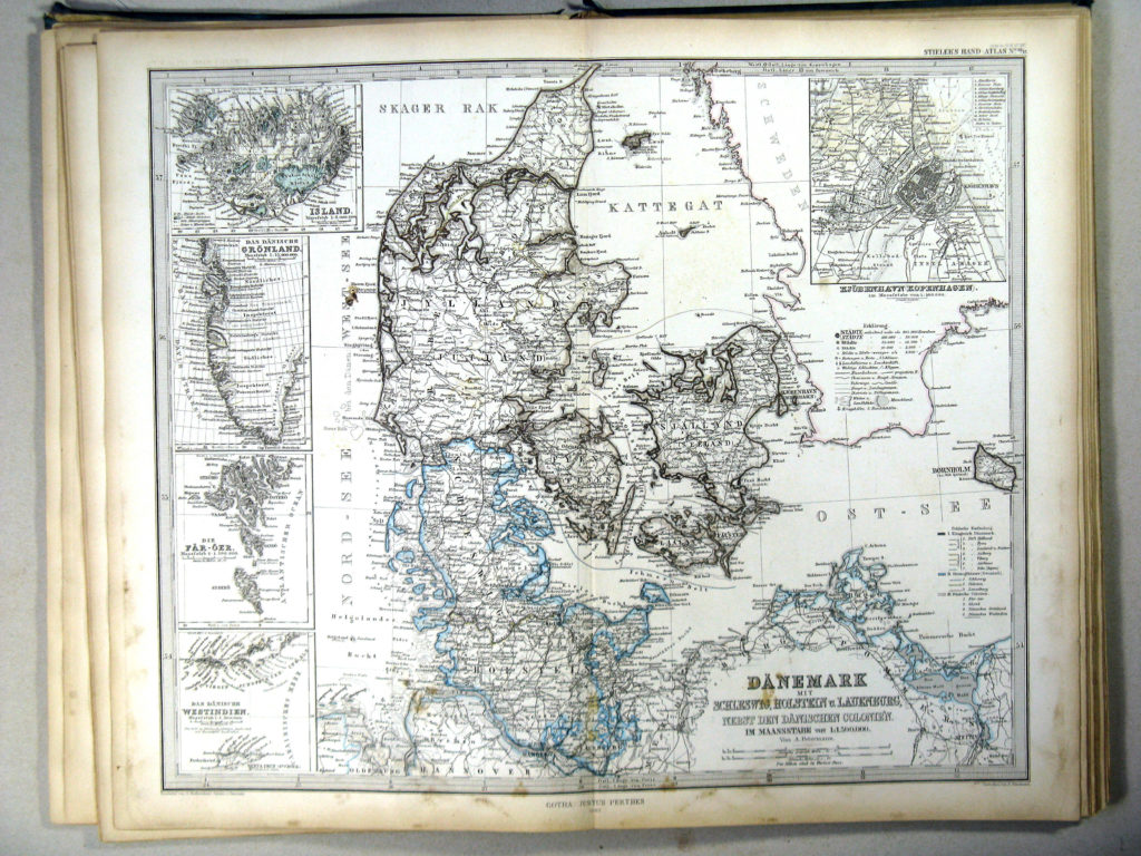 Карта Дании, 1867 г.