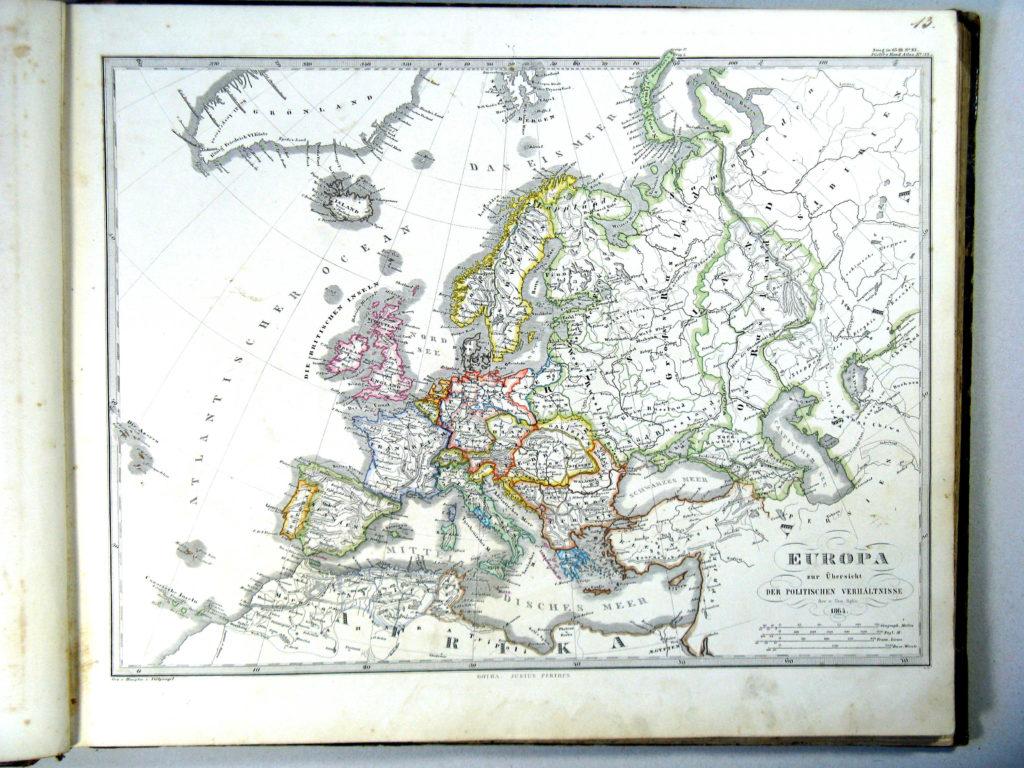 Политическая карта Европы, 1864 г.