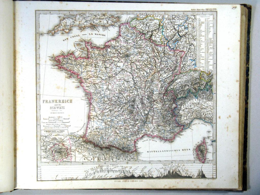 Карта Франции, 1864 г.