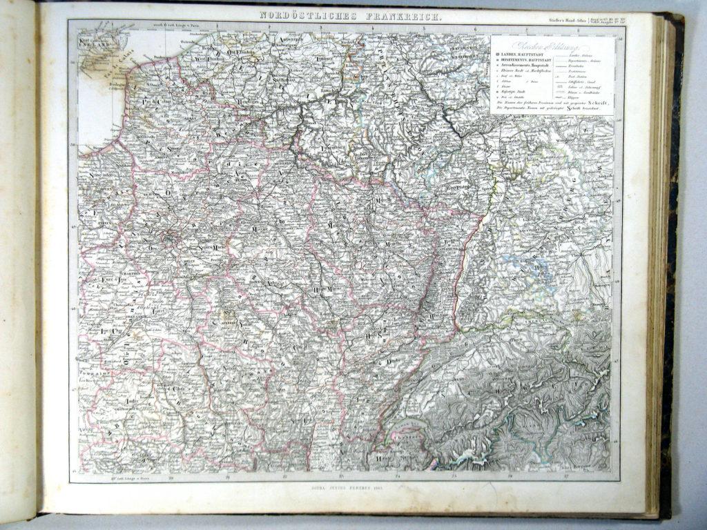 Карта Франции, северо-восток, 1864 г.