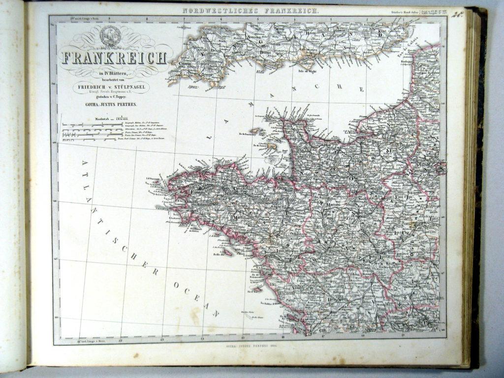 Карта Франции, северо-запад, 1864 г.