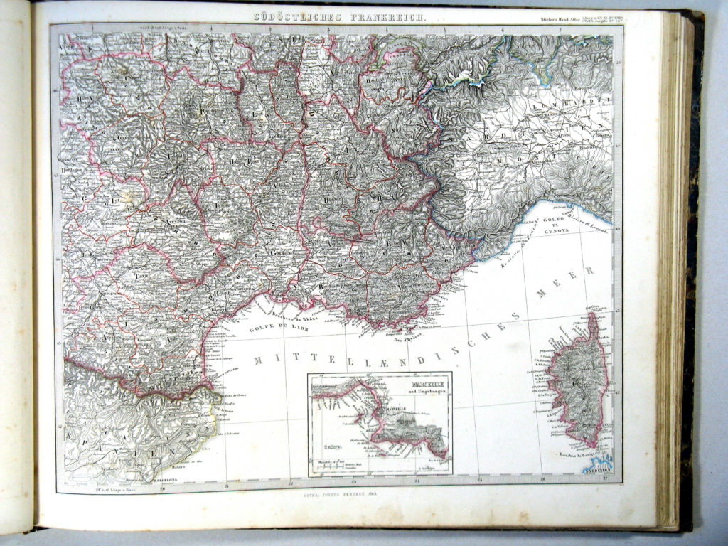 Карта Франции, юго-восток, 1864 г.