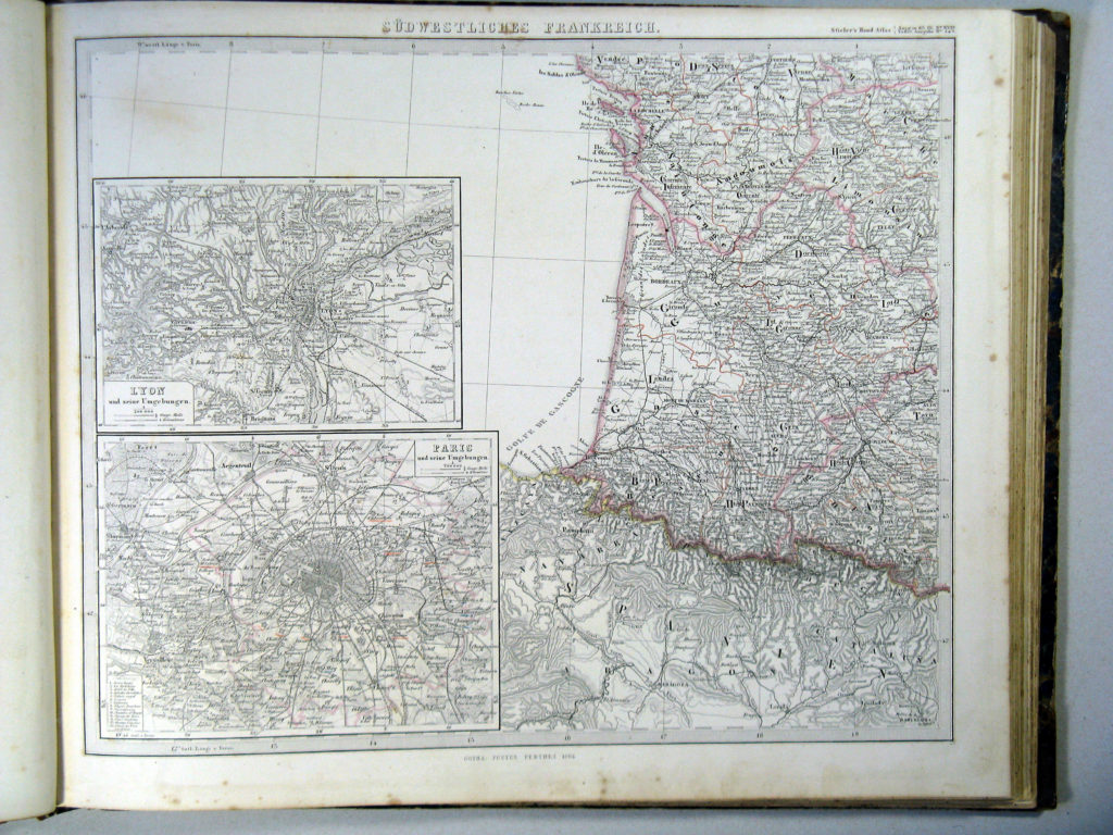 Карта Франции, юго-запад, 1864 г.