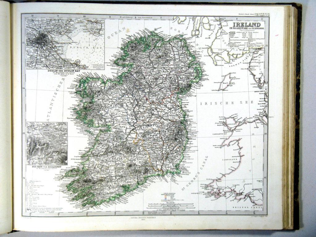 Карта Ирландии, 1864 г.