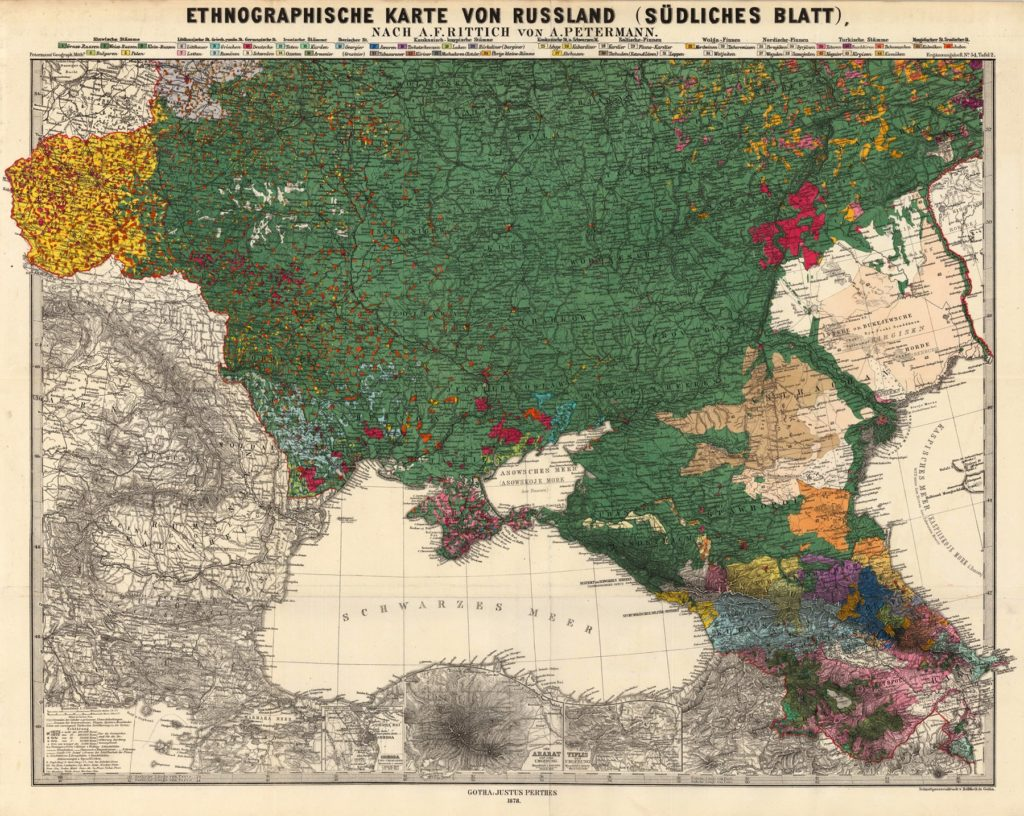 Карта европейской части России, 1878 г.