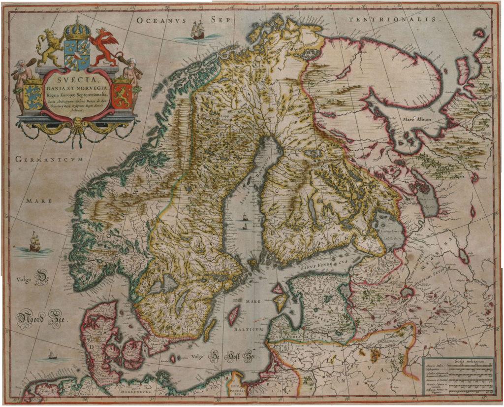 Карта Скандинавии, 1657 г.