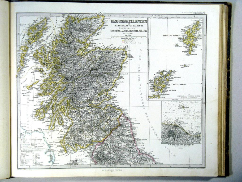 Карта Шотландии, 1864 г.