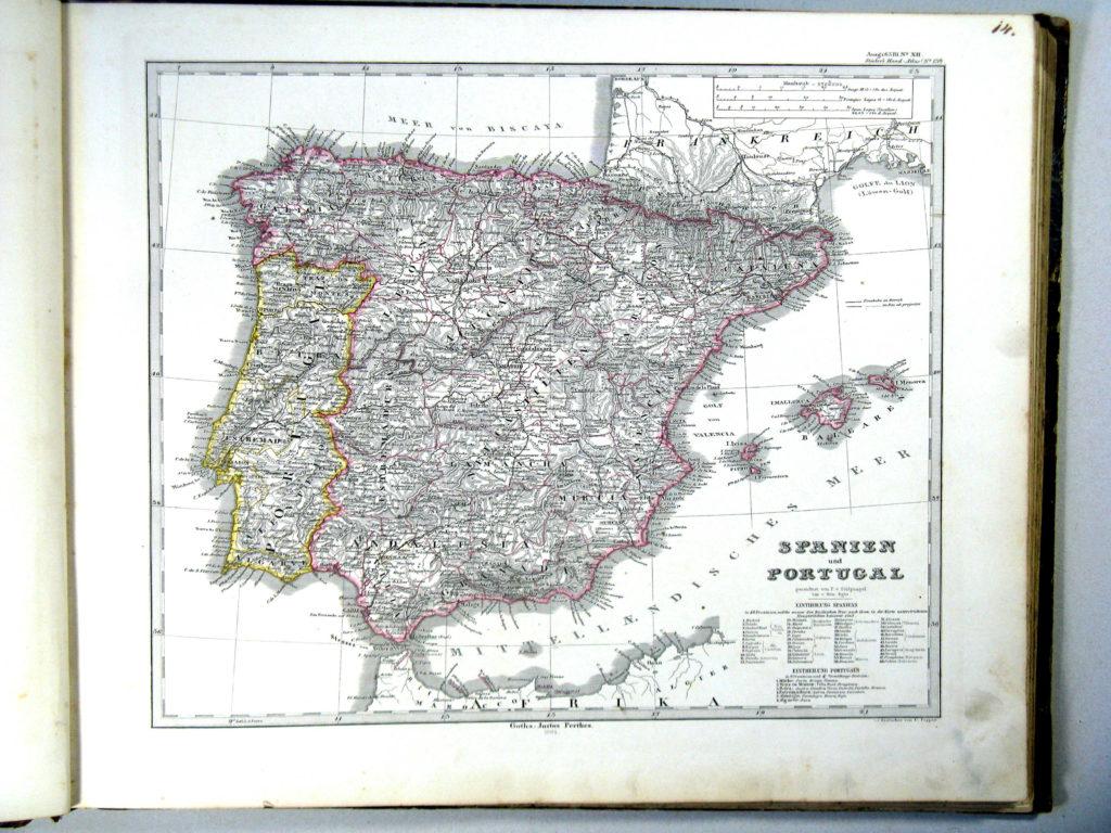 Карта Испании и Португалии, 1864 г.