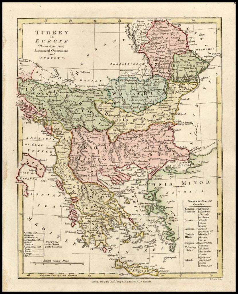 Карта владений Турции в Европе, 1809 г.