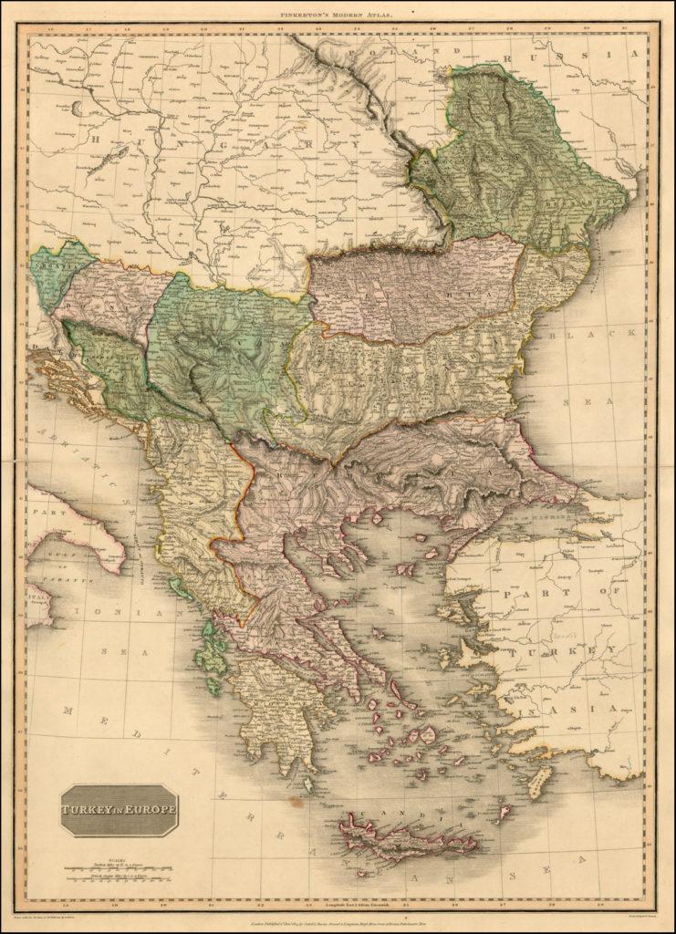 Карта владений Турции в Европе, 1812 г.