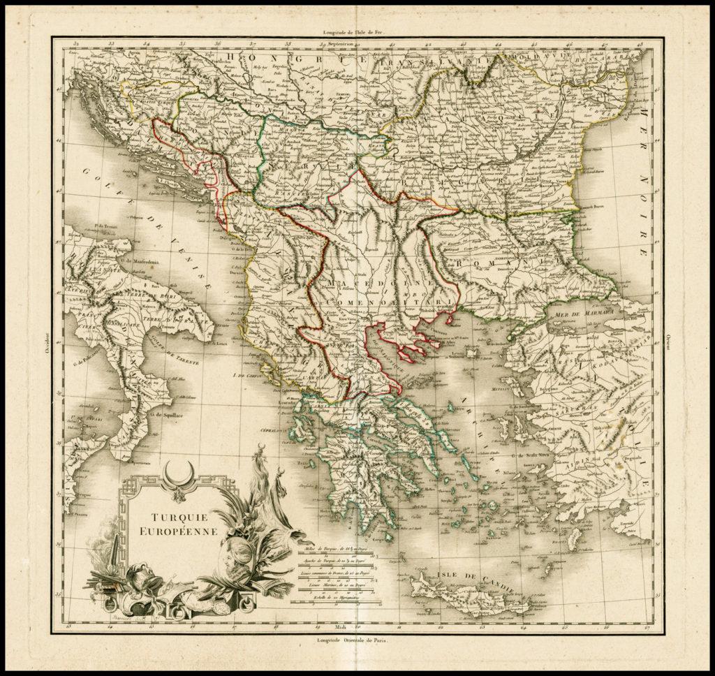 Карта владений Турции в Европе, 1790 г.