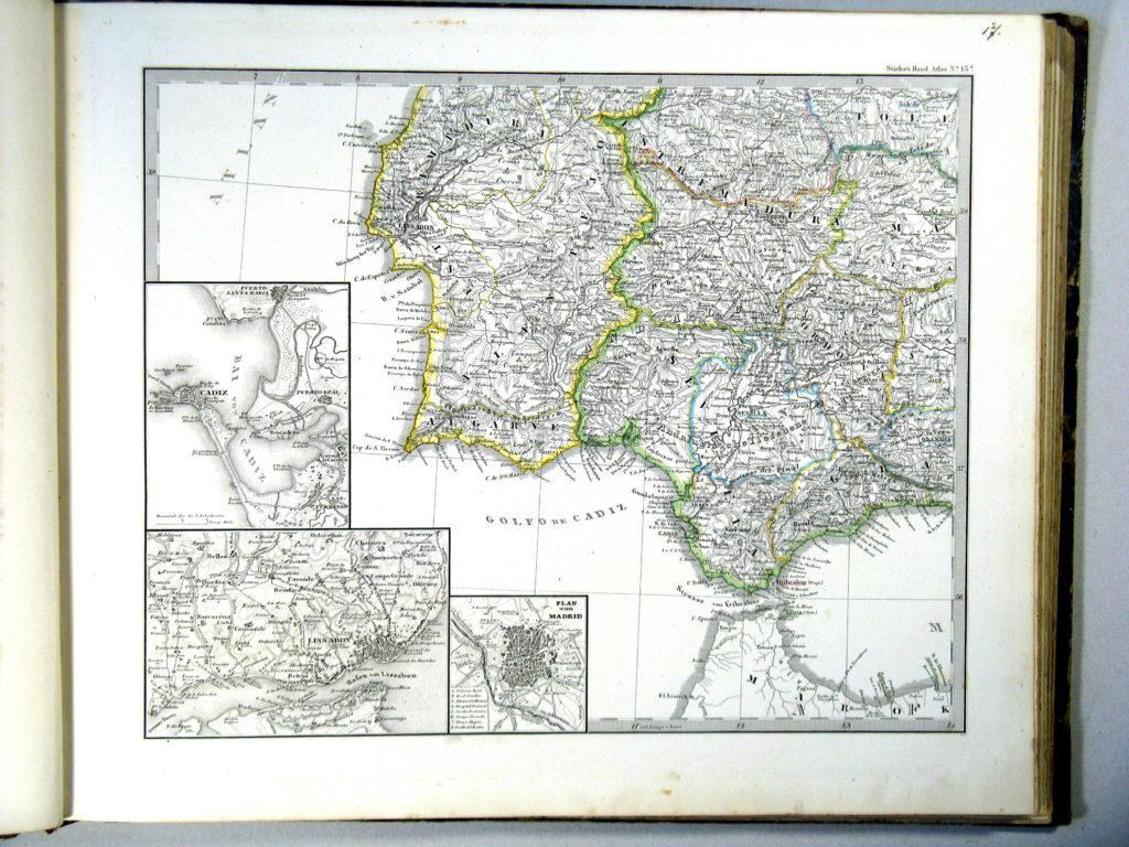 Карта Пиренейского полуострова, юго-запад, 1864 г.