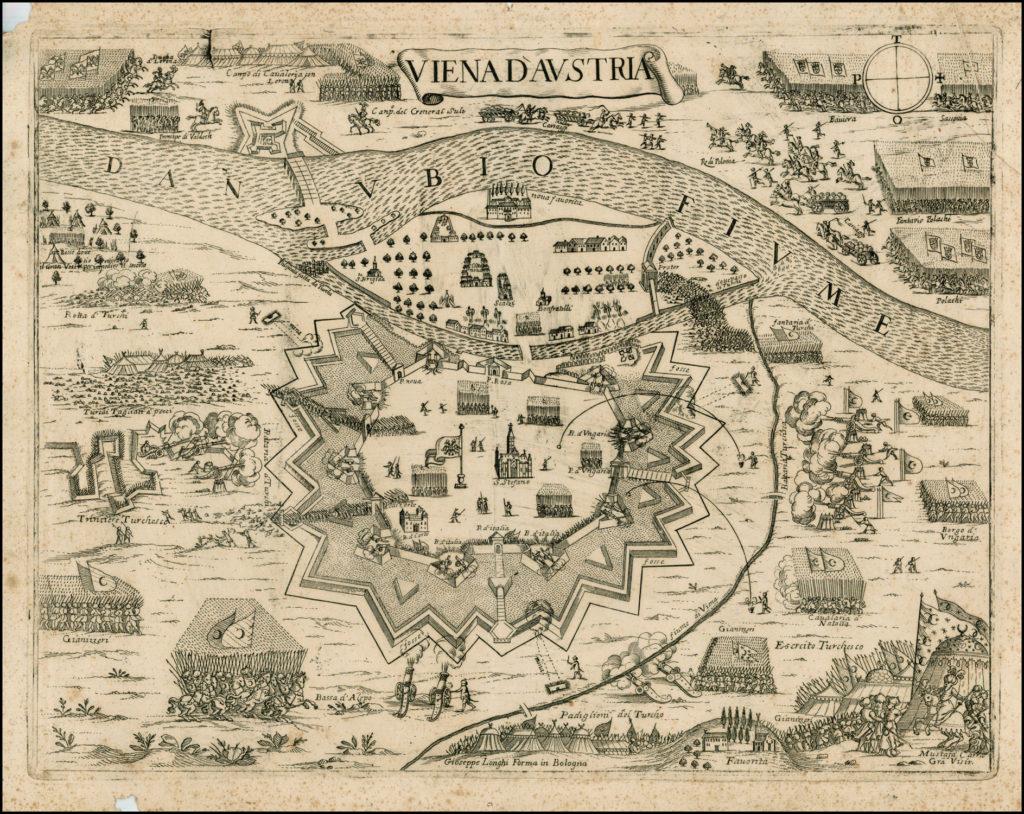 Карта осады Вены, 1683 г.