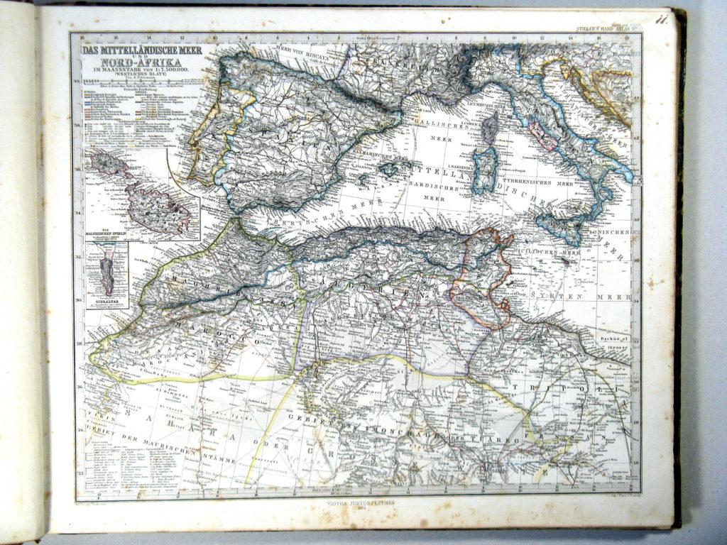 Карта Европы и Северной Африки, 1864 г.