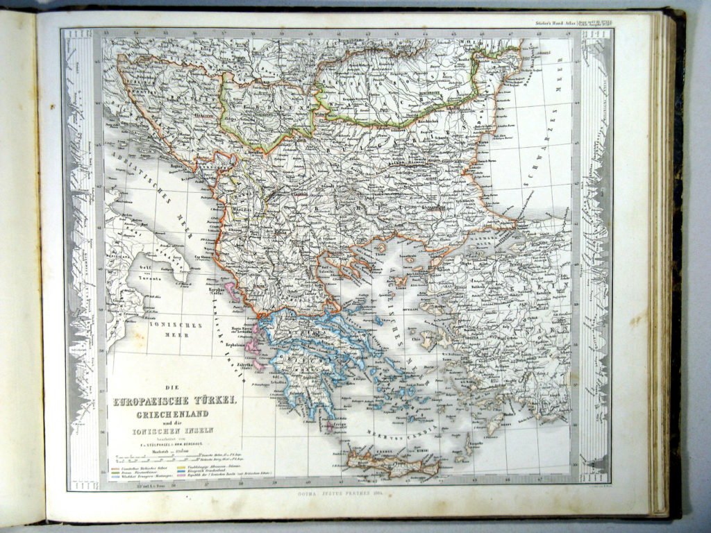 Карта турецких владений в Европе, 1864 г.