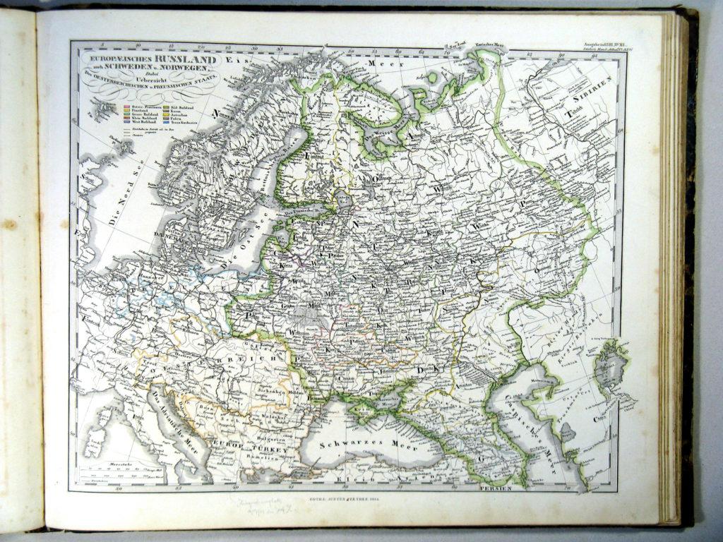 Карта европейской части России, 1864 г.