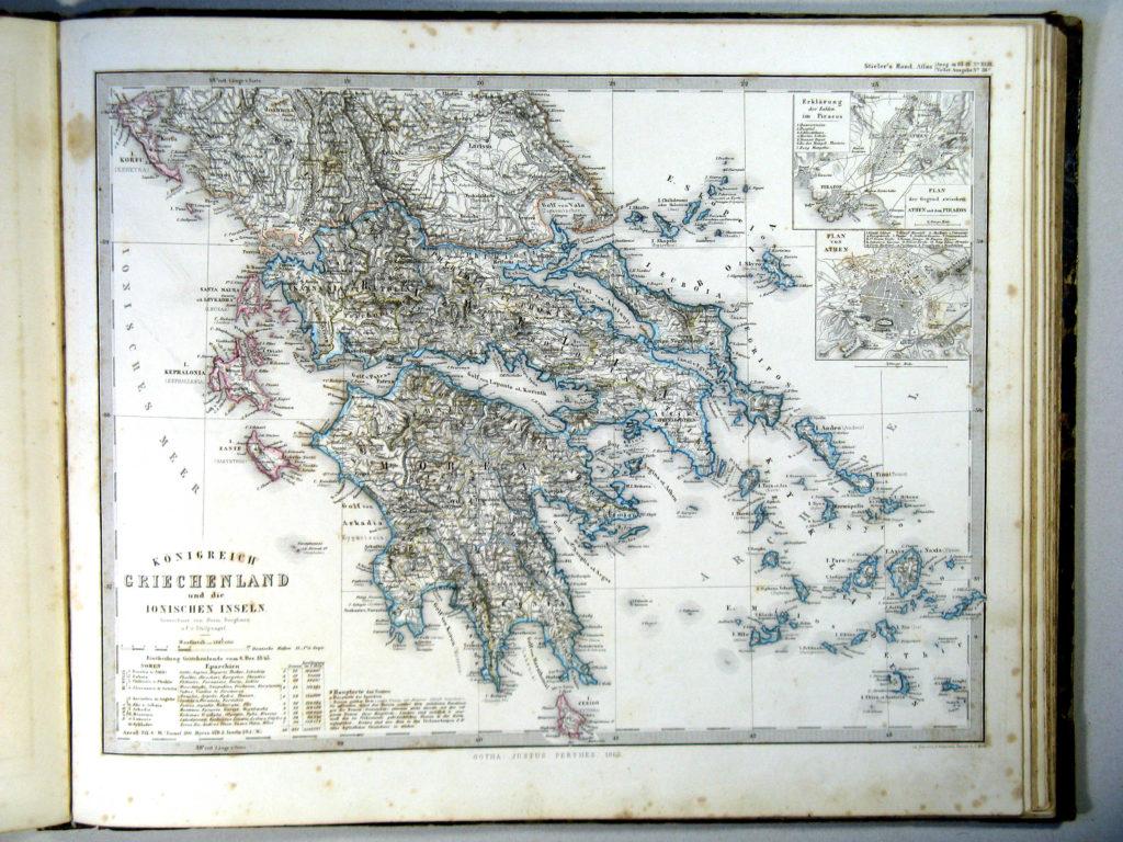 Карта Греции, 1864 г.