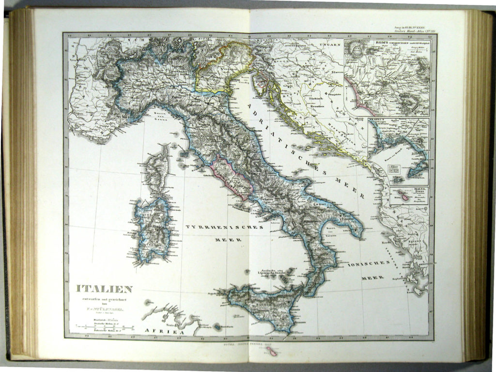 Карта Италии, 1863 г.