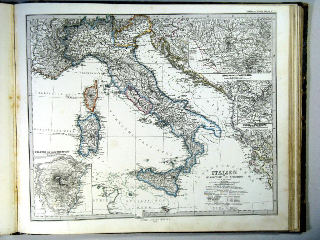 Карта Италии, 1864 г.