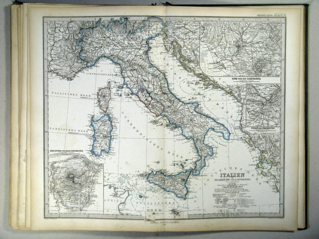 Карта Италии, 1867 г.