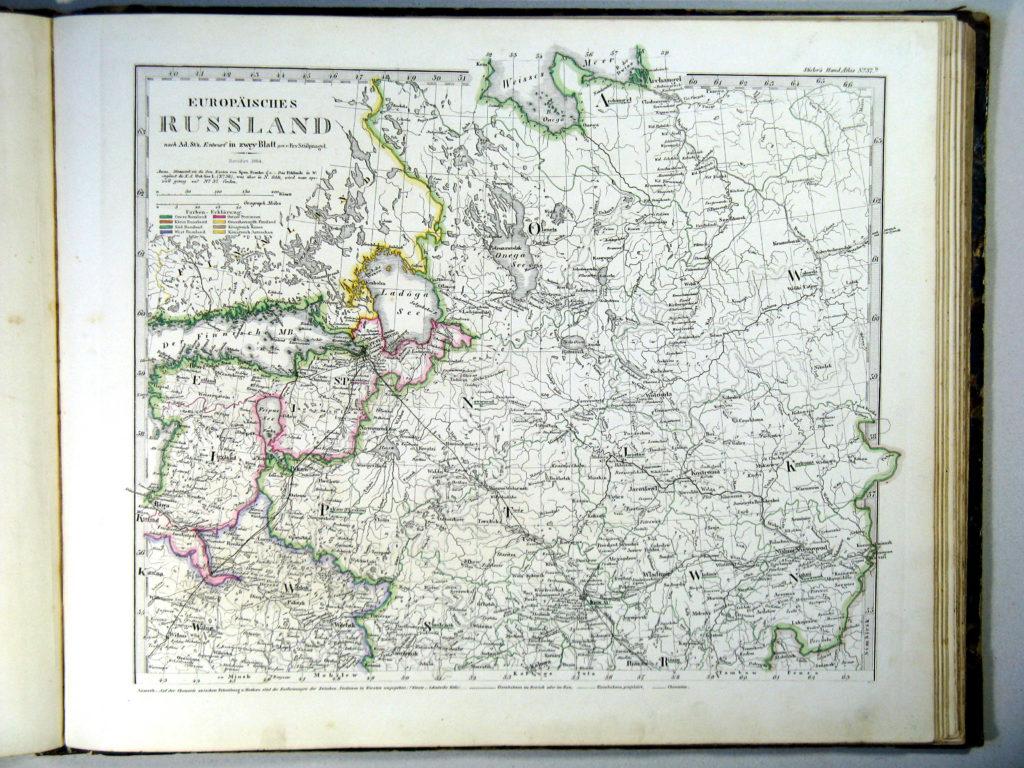 Карта России, северо-западные губернии, 1864 г.