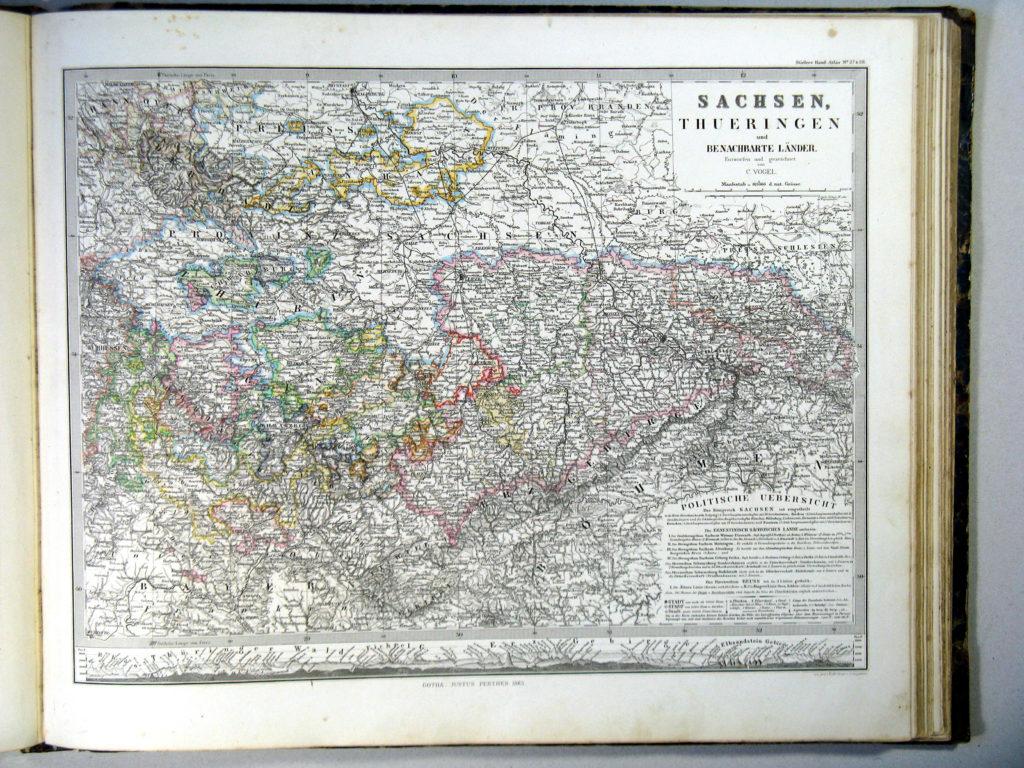 Карта Саксонии, Тюрингии и соседних земель 1864 г.