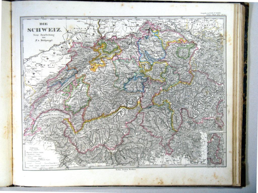 Карта Швейцарии, 1864 г.