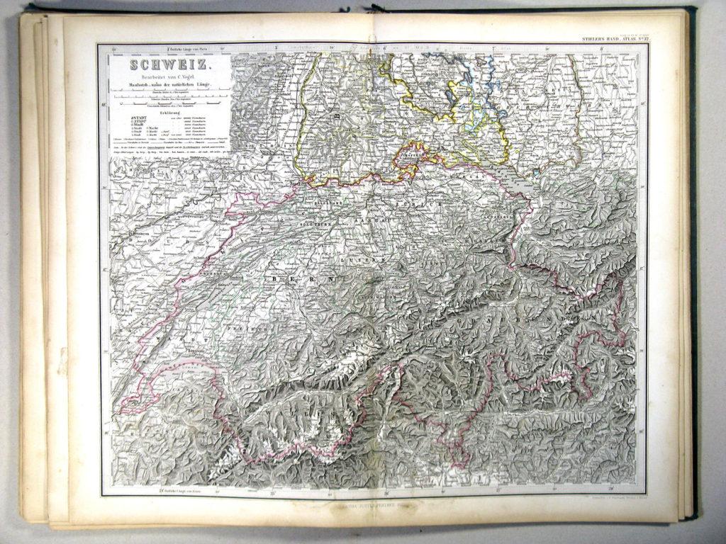 Карта Швейцарии, 1867 г.