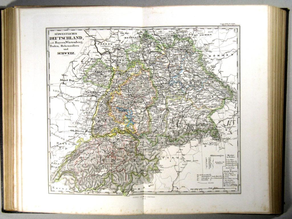Карта Швейцарии, Лихтенштейна, Южной Германии, 1863 г.