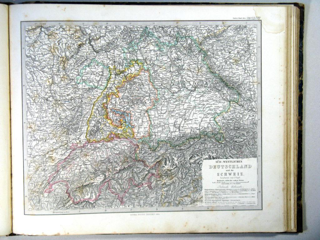 Карта Швейцарии, Лихтенштейна, Южной Германии, 1864 г.