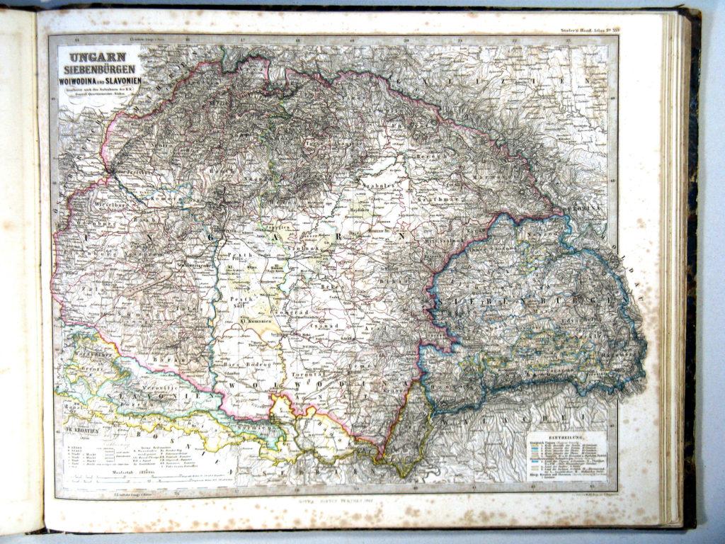 Карта Венгрии, 1864 г.