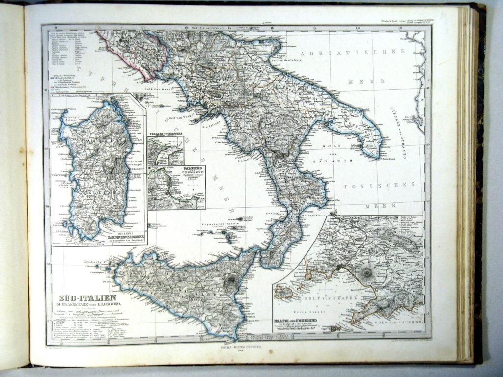 Карта Южной Италии, 1864 г.