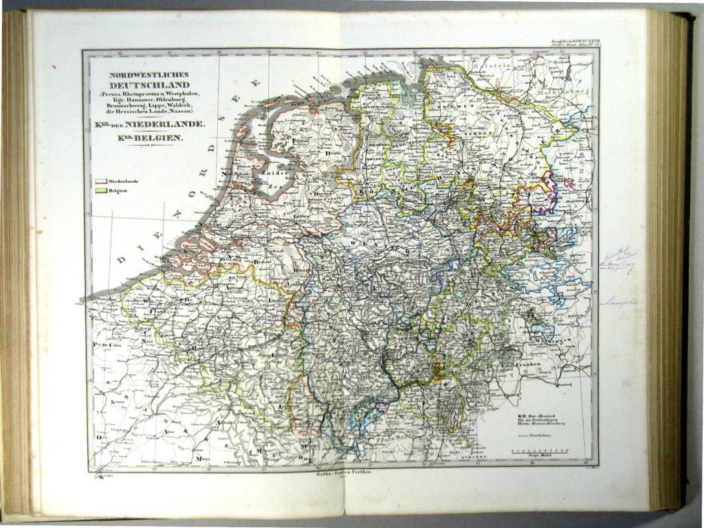 Карта северо-западной Германии, Нидерландов, Бельгии и Люксембурга, 1863 г.