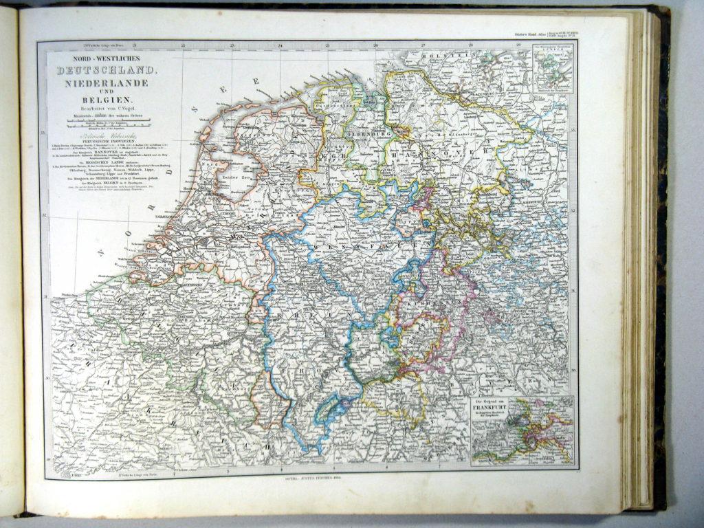Карта северо-западной Германии, Нидерландов, Бельгии и Люксембурга, 1864 г.