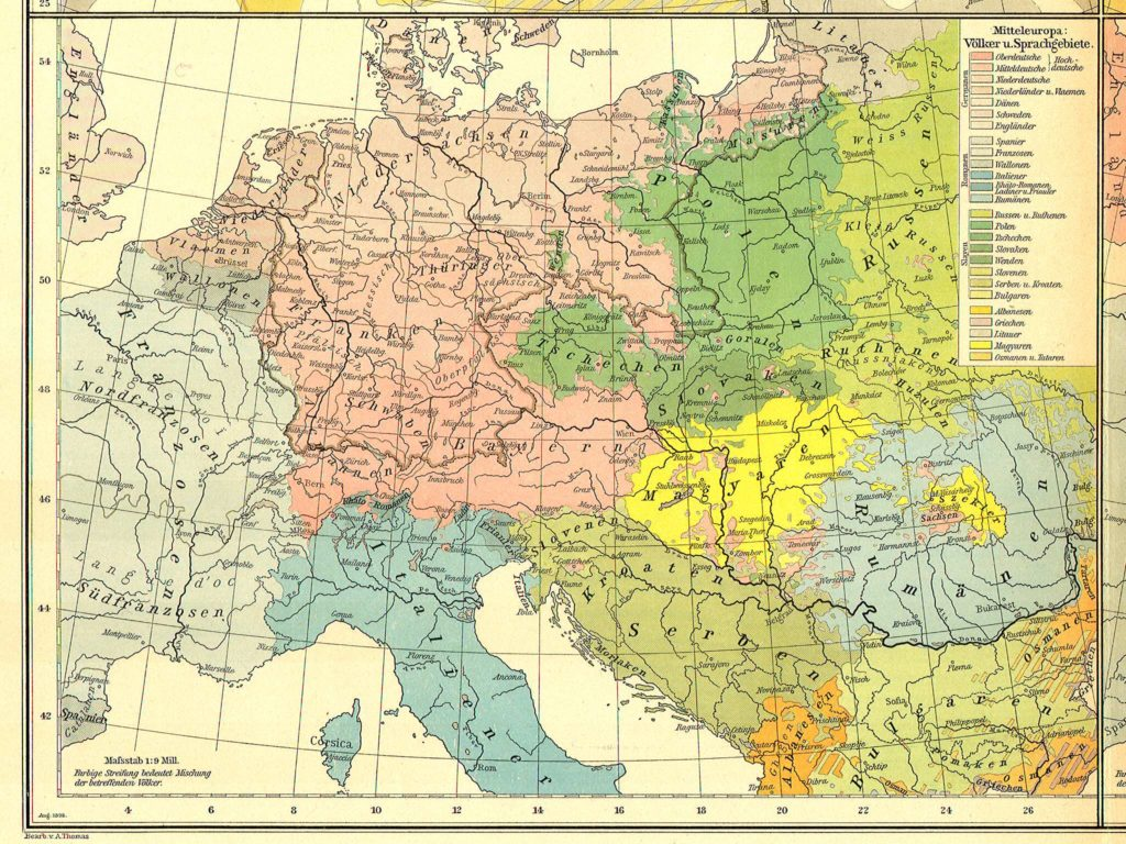 Этническая карта Центральной Европы, 1899 г.