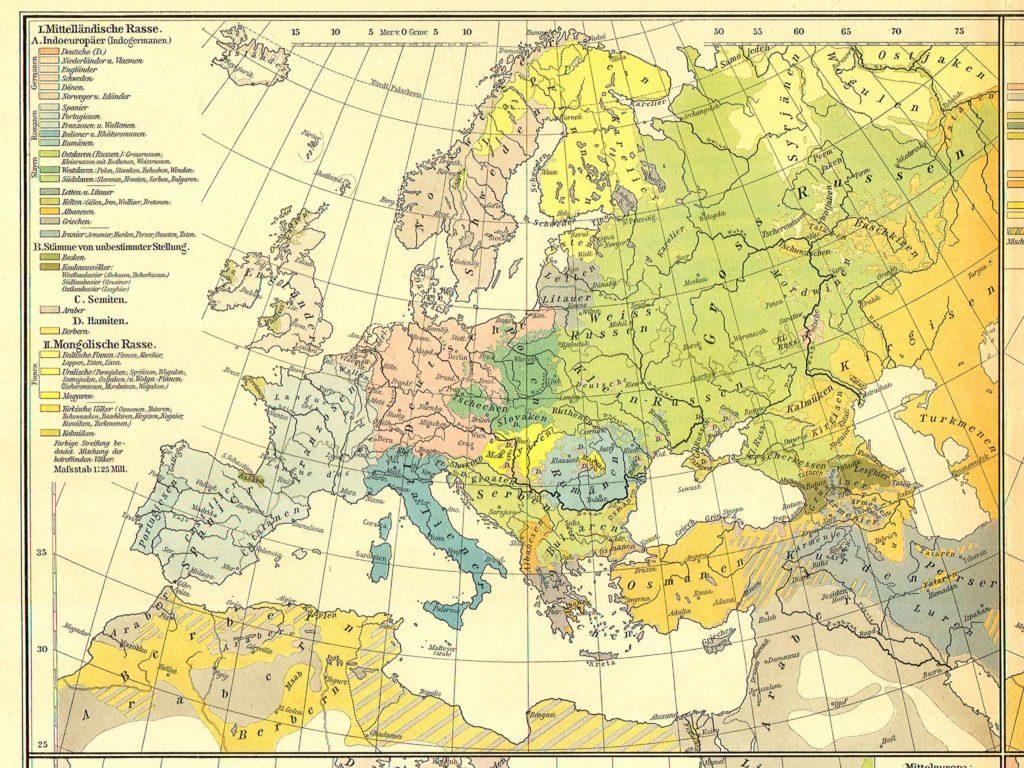 Этническая карта Европы, 1899 г.