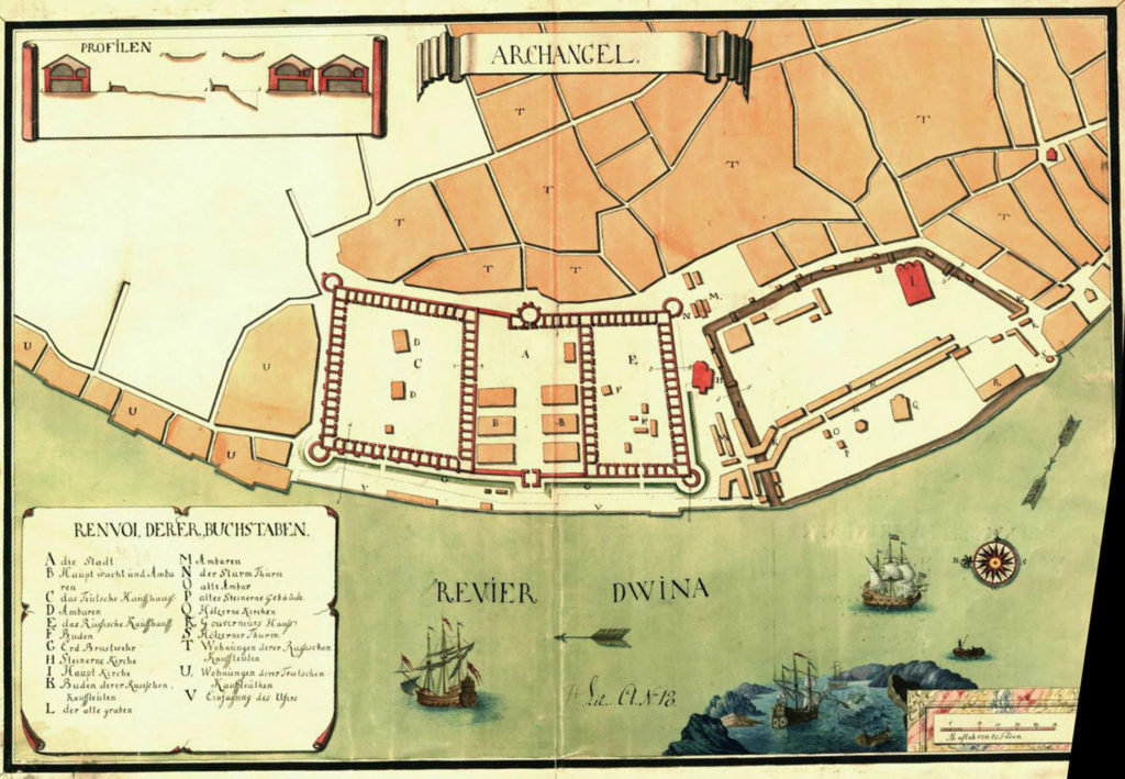 Карта Архангельска, 1750 г.