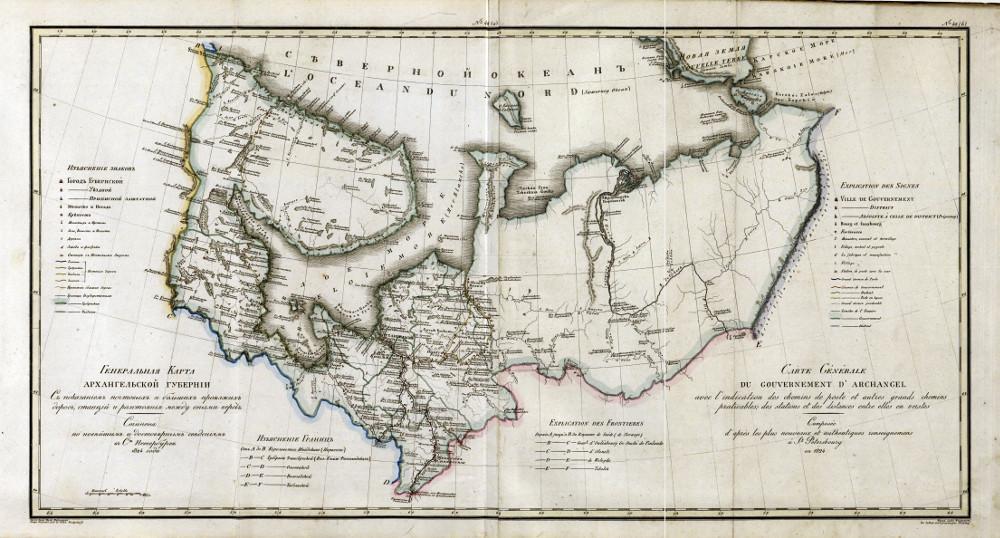 Карта Архангельской губернии, 1824 г.