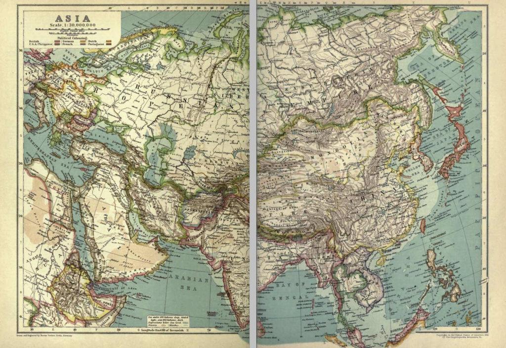 Карта Азии, 1910 г.