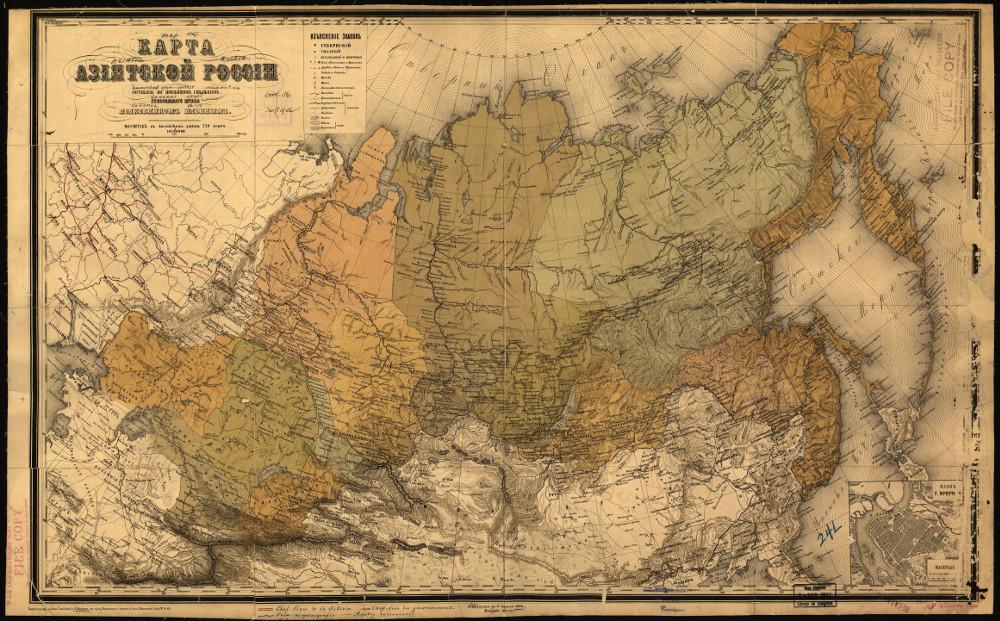 Карта регионов азиатской части России, 1868 г.